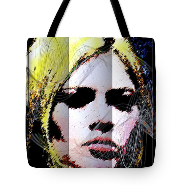 Tote Bag featuring the digital art Brigitte Bardot by Daniel Janda