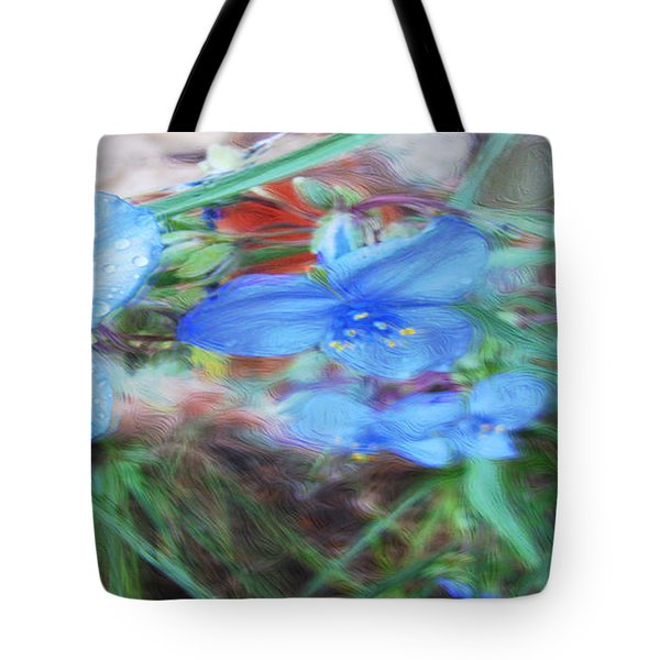 Tote Bag featuring the photograph Brilliant Blue Flowers by Cathy Anderson