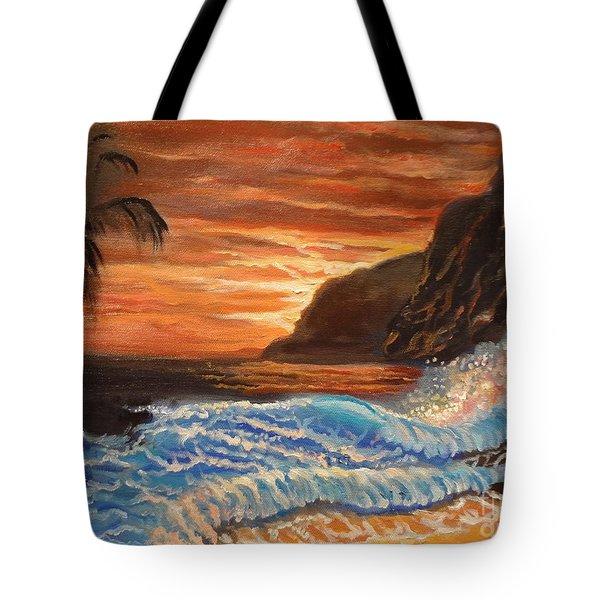Brilliant Hawaiian Sunset 1 Tote Bag by Jenny Lee