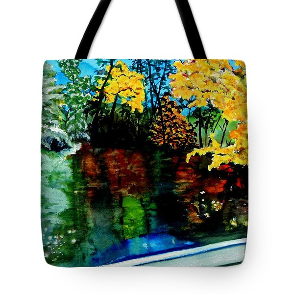 Brilliant Mountain Colors In Reflection Tote Bag by Lil Taylor