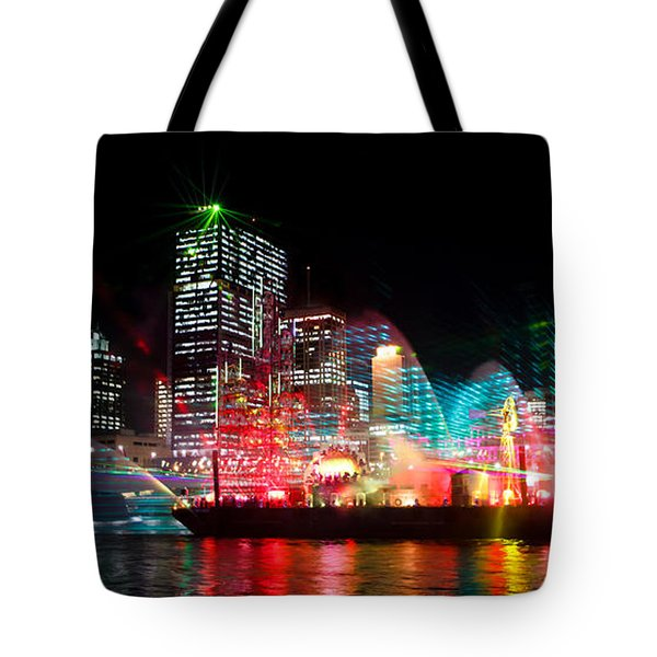 Brisbane City Of Lights Tote Bag by Peta Thames