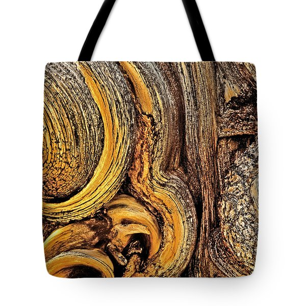 Tote Bag featuring the photograph Bristlecone Pine Bark Detail White Mountains Ca by Dave Welling
