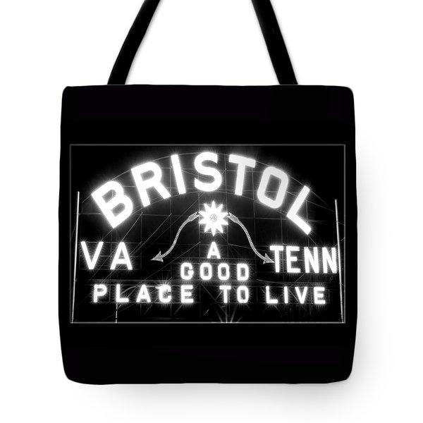 Bristol Virginia Tennesse Slogan Sign Tote Bag