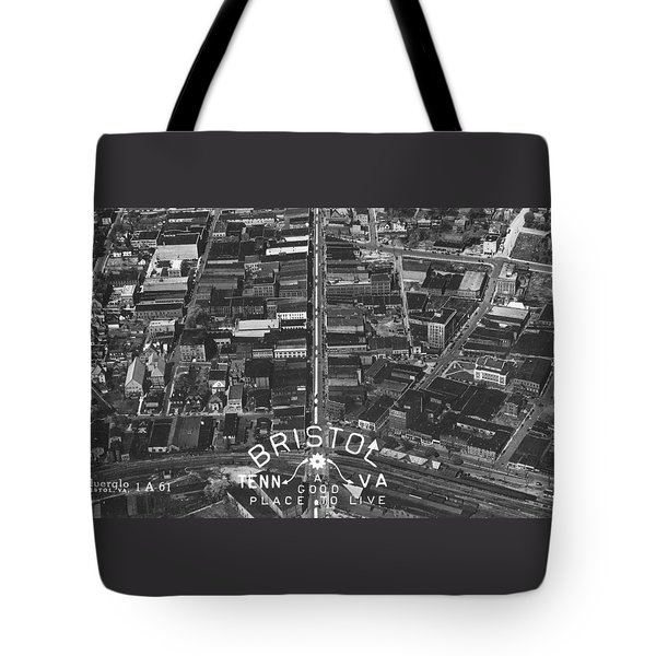 Bristol Virginia Tennessee Early Aerial Photo Tote Bag