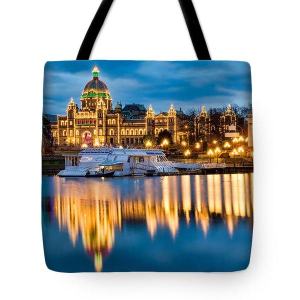 British Columbia Parliament Christmas Lights Tote Bag