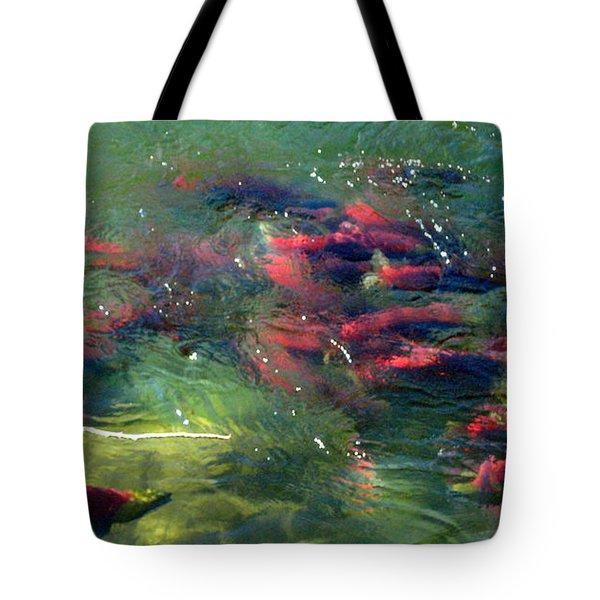 British Columbia Salmon Run  Tote Bag by Kathy Bassett