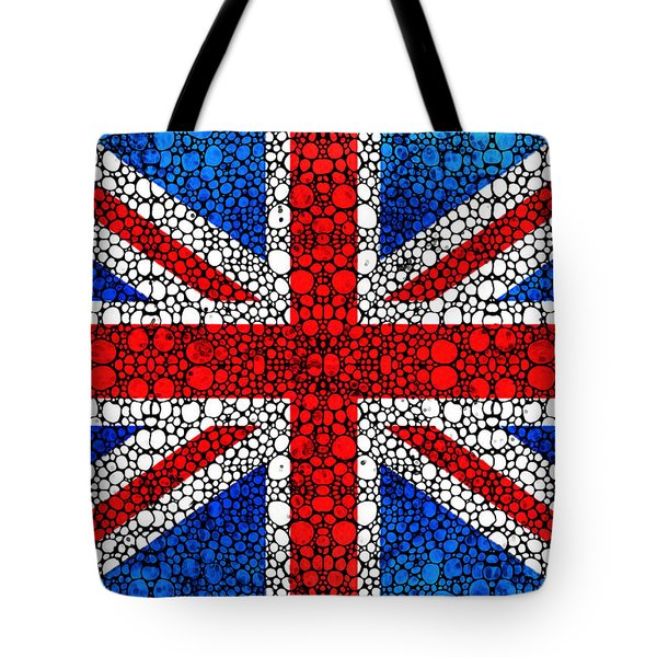 British Flag - Britain England Stone Rock'd Art Tote Bag by Sharon Cummings