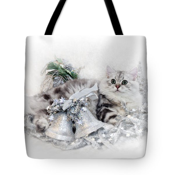 British Longhair Cat Christmas Time Tote Bag by Melanie Viola