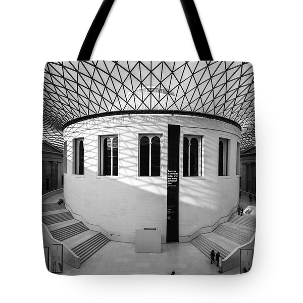 Tote Bag featuring the photograph British Museum Black And White by Matt Malloy
