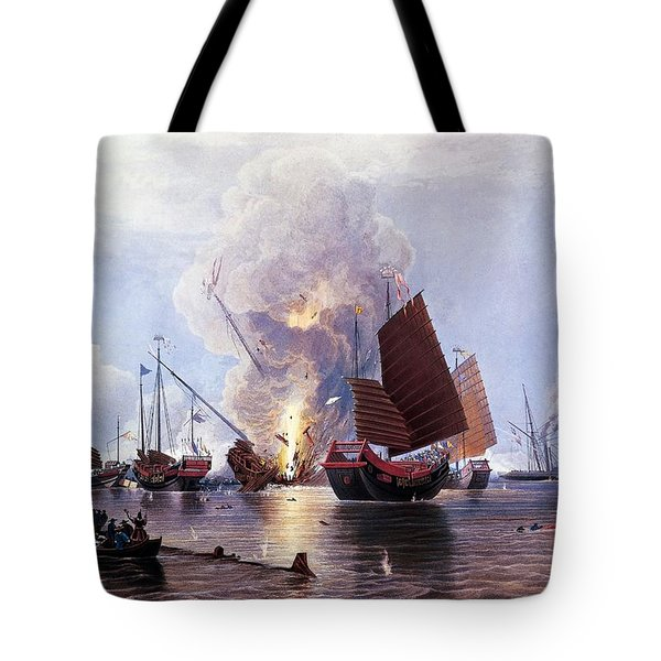 British Ships Destroying An Enemy Fleet In Canton Tote Bag