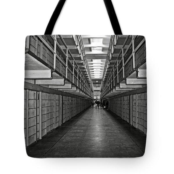 Broadway Walkway In Alcatraz Prison Tote Bag by RicardMN Photography