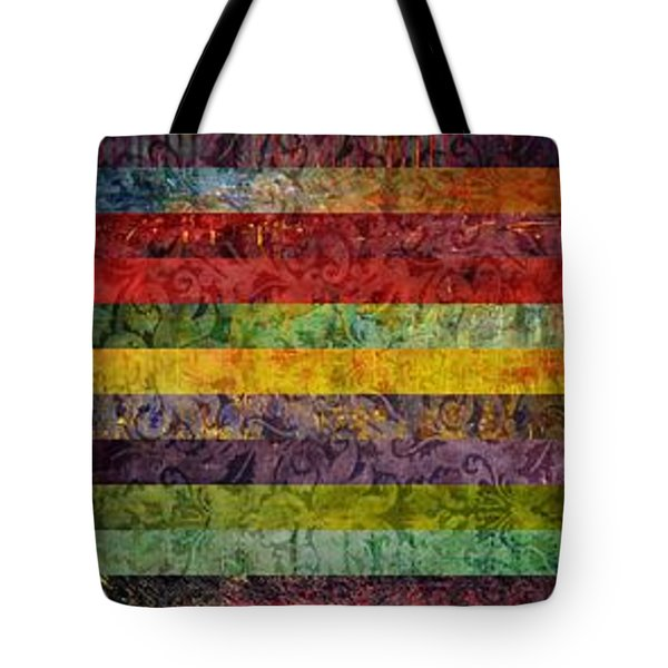 Brocade And Stripes Tower 1.0 Tote Bag by Michelle Calkins