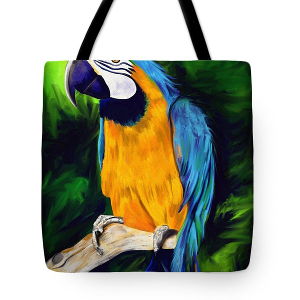 Brody Blue And Yellow Macaw Parrot Tote Bag by Julianne  Ososke