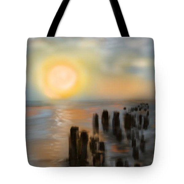 Tote Bag featuring the digital art Broken Dock by Christine Fournier