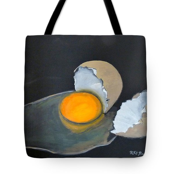 Tote Bag featuring the painting Broken Egg by Richard Le Page