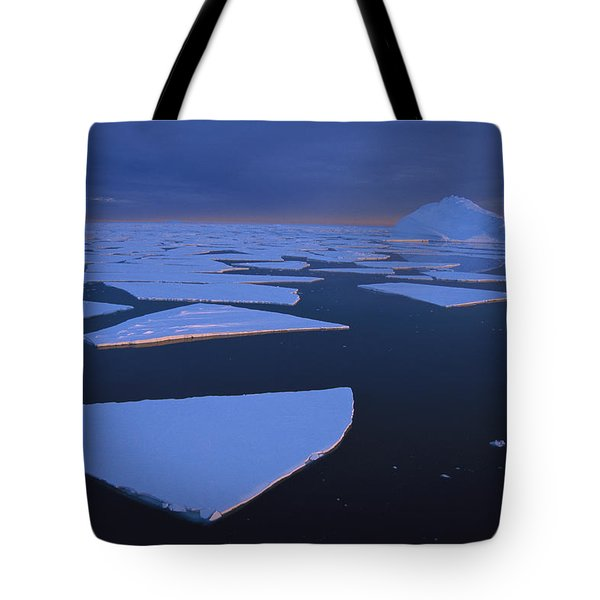 Broken Fast Ice Under Midnight Sun Tote Bag by Tui De Roy