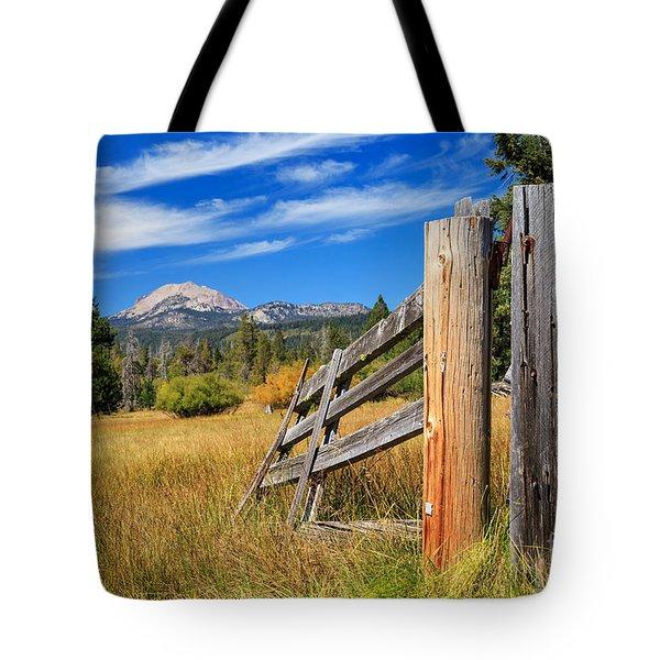Broken Fence And Mount Lassen Tote Bag