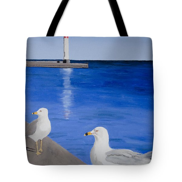 Bronte Lighthouse Gulls In Oil Tote Bag