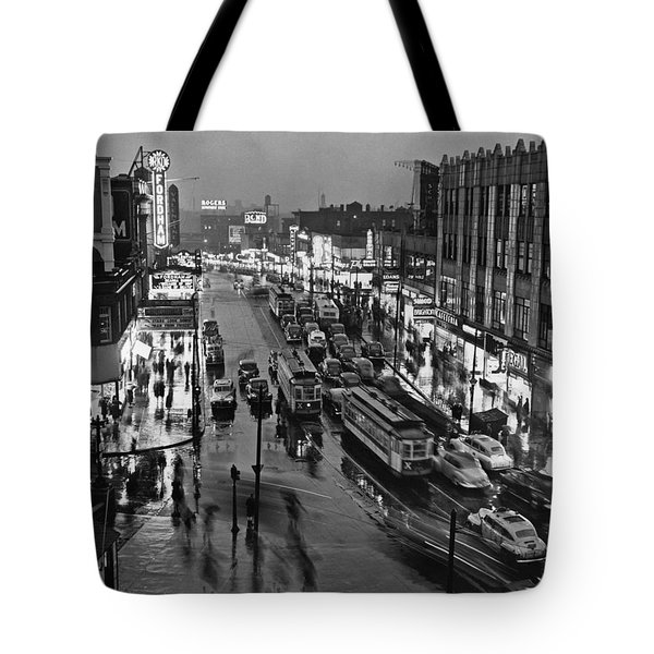 Bronx Fordham Road At Night Tote Bag by Underwood Archives