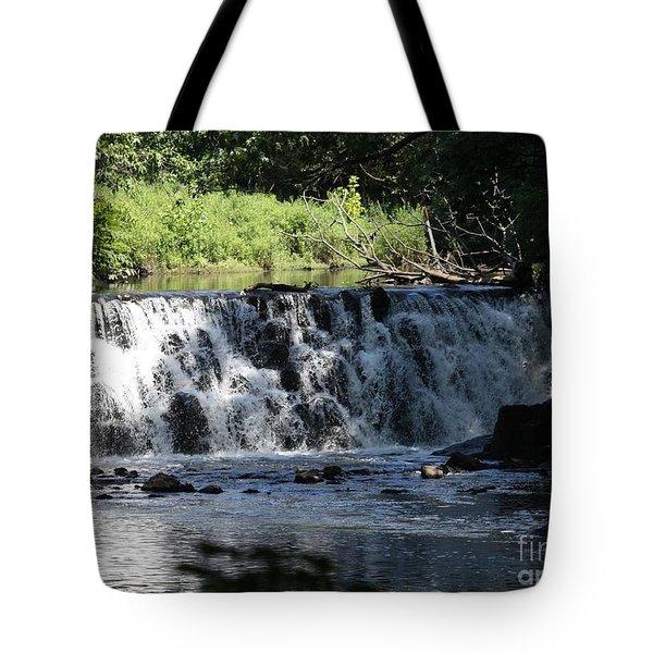 Bronx River Waterfall Tote Bag by John Telfer