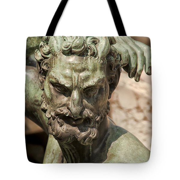 Bronze Satyr In The Fountain Of Neptune Of Florence Tote Bag by Melany Sarafis