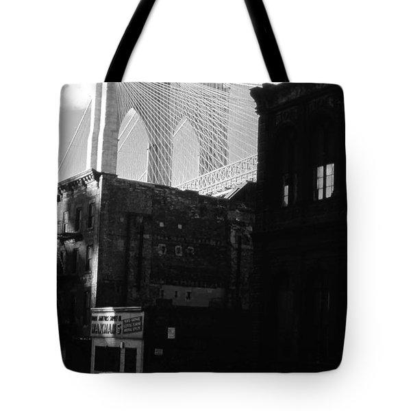 Tote Bag featuring the photograph Brooklyn Bridge 1970 by John Schneider