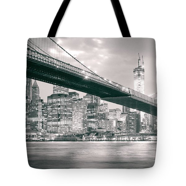 Brooklyn Bridge And New York City Skyline At Night Tote Bag