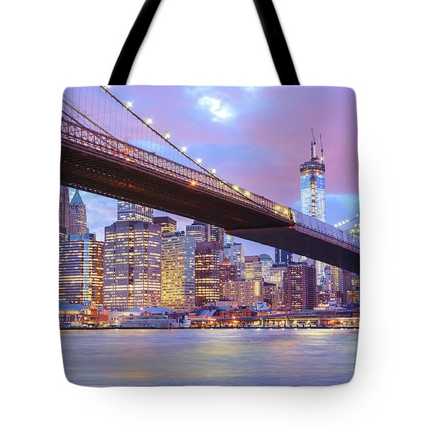 Brooklyn Bridge And New York City Skyscrapers Tote Bag