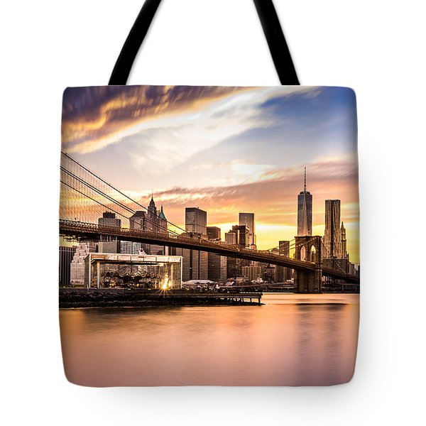 Tote Bag featuring the photograph Brooklyn Bridge At Sunset  by Mihai Andritoiu
