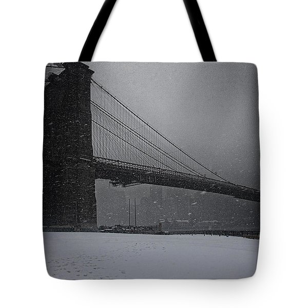 Brooklyn Bridge Blizzard Tote Bag