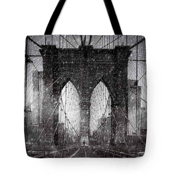Brooklyn Bridge Snow Day Tote Bag