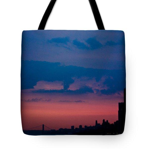 Tote Bag featuring the photograph Brooklyn Bridge Sunrise by Sara Frank