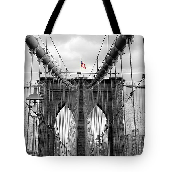 Brooklyn Bridge With American Flag Tote Bag