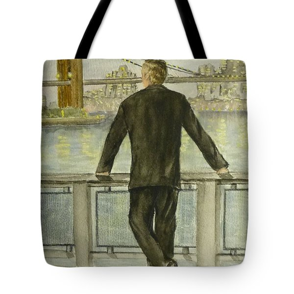 Tote Bag featuring the painting Brooklyn Bridges Finest New York by Kelly Mills