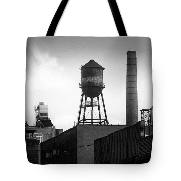 Tote Bag featuring the photograph Brooklyn Water Tower And Smokestack - Black And White Industrial Chic by Gary Heller