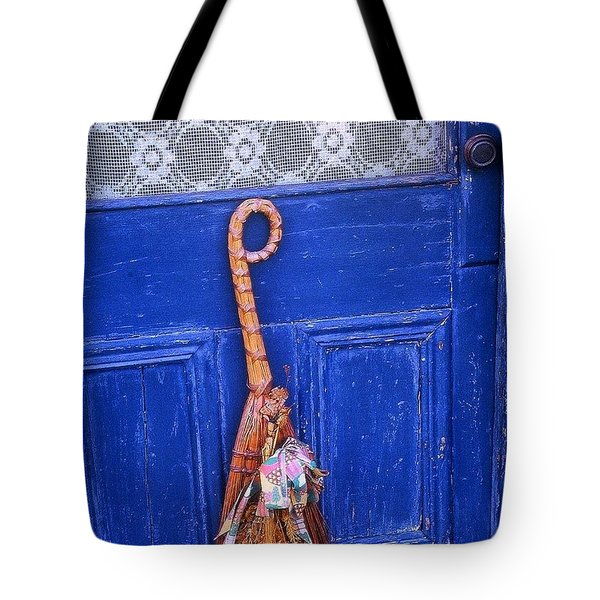 Tote Bag featuring the photograph Broom On Blue Door by Rodney Lee Williams