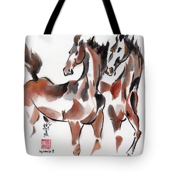 Tote Bag featuring the painting Brothers by Bill Searle