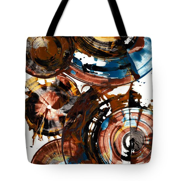 Tote Bag featuring the painting Brown And Blue Spherical Joy - 992.042212 by Kris Haas