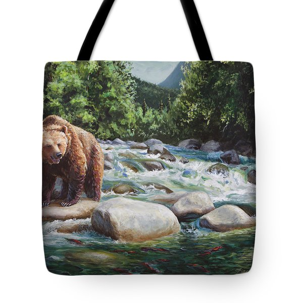 Brown Bear And Salmon On The River - Alaskan Wildlife Landscape Tote Bag