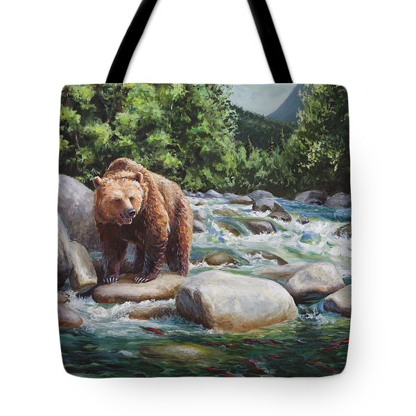 Brown Bear On The Little Susitna River Tote Bag