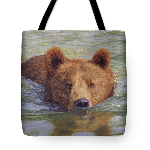 Brown Bear Painting Tote Bag by David Stribbling