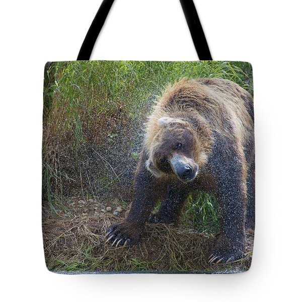 Brown Bear Shaking Water Off After An Unsucessful Salmon Dive Tote Bag by Dan Friend