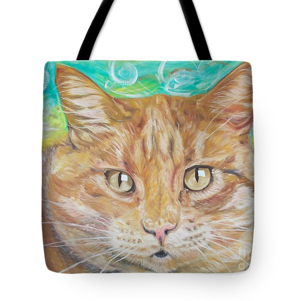 Tote Bag featuring the painting Brown Cat by PainterArtist FINs husband Maestro