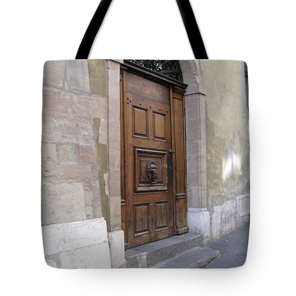 Tote Bag featuring the photograph Brown Door by Arlene Carmel