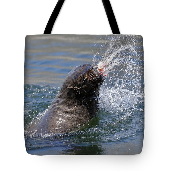 Brown Fur Seal Throwing A Fish Head Tote Bag