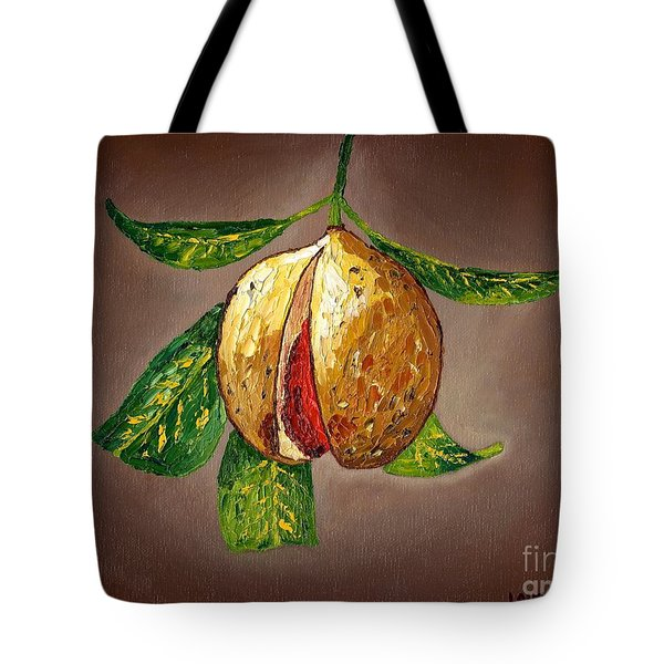 Tote Bag featuring the painting Brown Glow Nutmeg by Laura Forde
