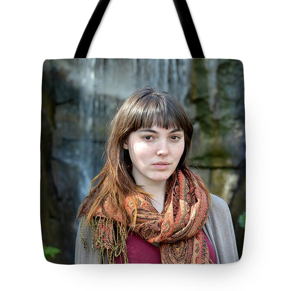 Tote Bag featuring the photograph Brown Haired And Freckle Faced Natural Beauty Model II by Jim Fitzpatrick