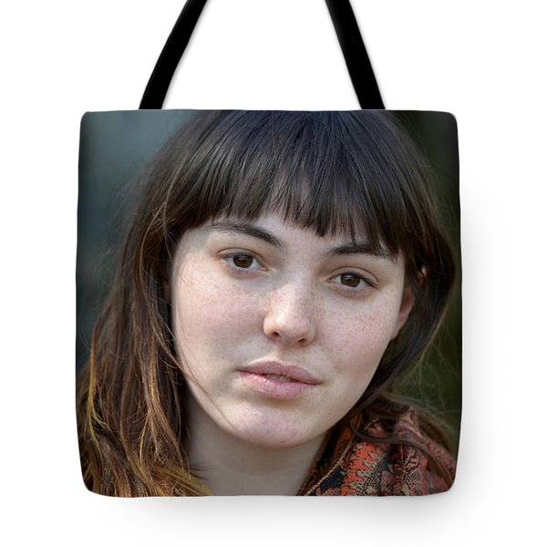 Tote Bag featuring the photograph Brown Haired And Freckle Faced Natural Beauty Model IIi by Jim Fitzpatrick