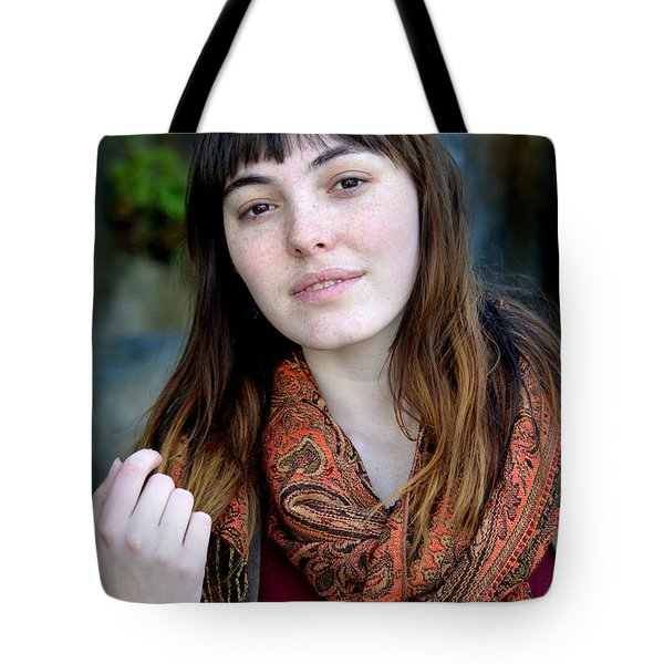Tote Bag featuring the photograph Brown Haired And Freckle Faced Natural Beauty Model Ix by Jim Fitzpatrick