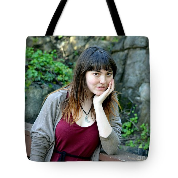 Tote Bag featuring the photograph Brown Haired And Freckle Faced Natural Beauty Model  by Jim Fitzpatrick